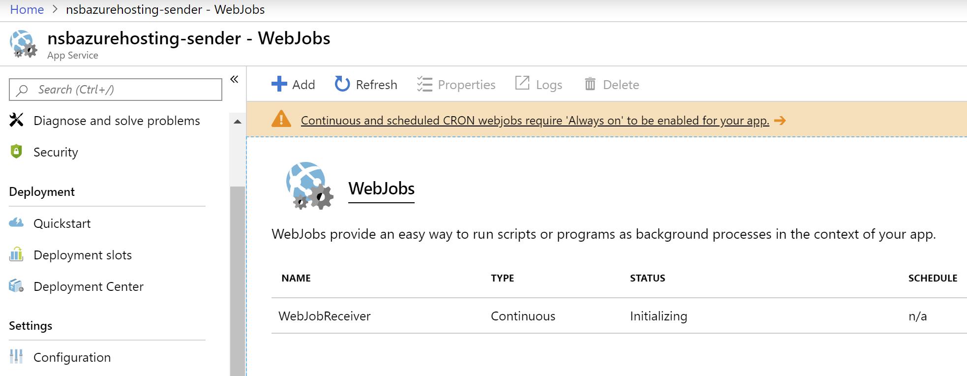 Azure WebJob inside Azure Portal